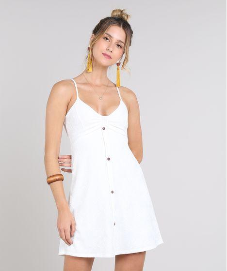 bdd25a1b72fe Vestido Feminino Curto com Botões Alça Fina Off White - cea
