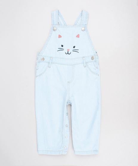 Macacao-Jeans-Infantil-com-Bordado-de-Gatinho-Alcas-Finas-Azul-Claro-9588554-Azul_Claro_1