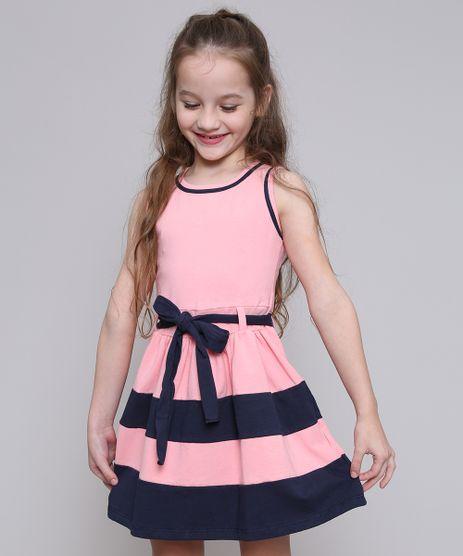 09b1a009 Vestido-Infantil-com-Recortes-e-Laco-Rosa-9420457-
