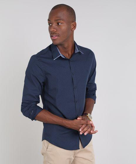 Camisa-Masculina-Slim-Estampada-de-Poa-Manga-Longa-Azul-Marinho-9508847-Azul_Marinho_1