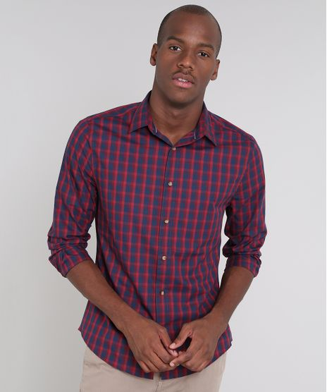Camisa-Masculina-Slim-Estampada-Xadrez-Manga-Longa-Vermelha-9523398-Vermelho_1