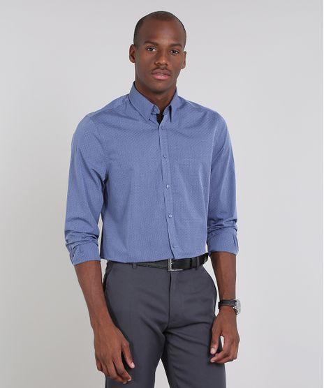 Camisa-Masculina-Comfort-Maquinetada-Estampada-de-Poa-Manga-Longa-Azul-9430712-Azul_1