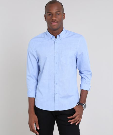 Camisa-Masculina-Comfort-Estampada-Mini-Print-Xadrez-com-Bolso-Manga-Longa-Azul-Claro-9515009-Azul_Claro_1