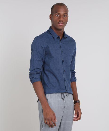 Camisa-Masculina-Slim-Estampada-Manga-Longa-Azul-9521524-Azul_1