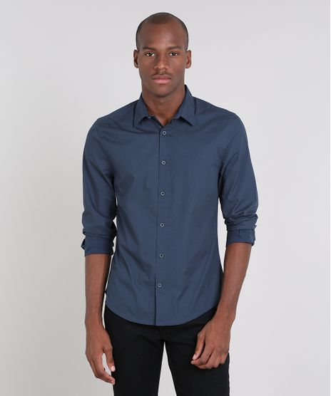 Camisa-Masculina-Slim-Estampada-de-Poa-Manga-Longa-Azul-Marinho-9523395-Azul_Marinho_1