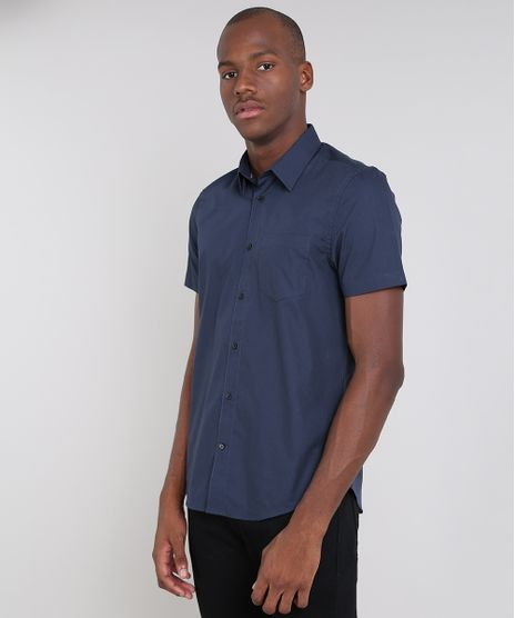 Camisa-Masculina-Comfort-Estampada-com-Bolso-Manga-Curta-Azul-Marinho-9508844-Azul_Marinho_1