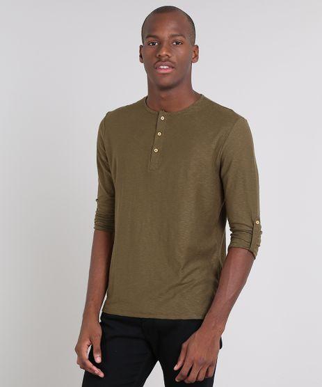 Camiseta-Masculina-com-Botoes-Manga-Longa-Gola-Careca-Verde-Militar-9471102-Verde_Militar_1