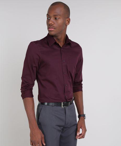 Camisa-Masculina-Comfort-Listrada-com-Bolso-Manga-Longa-Vinho-9465656-Vinho_1