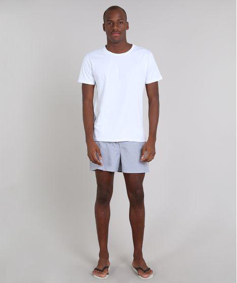 00f9c303006f76 Pijama Masculino com Camiseta Manga Curta + Samba Canção Estampada Listrada  Branco