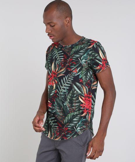 Camiseta-Masculina-Slim-Fit-Estampada-de-Folhagem-Manga-Curta-Gola-Careca-Preta-9514814-Preto_1