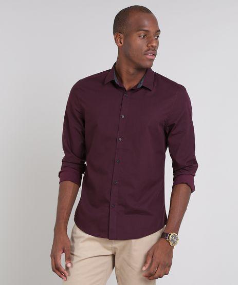 Camisa-Masculina-Slim-Estampada-Manga-Longa-Vinho-9523392-Vinho_1