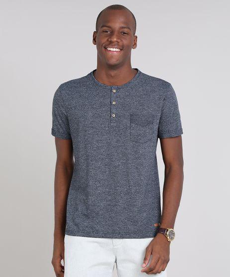 Camiseta-Masculina-com-Bolso-e-Botoes-Manga-Curta-Gola-Careca-Azul-Marinho-9356246-Azul_Marinho_1