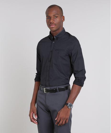 Camisa-Masculina-Comfort-Estampada-Mini-Print-com-Bolso-Manga-Longa-Preta-9438482-Preto_1