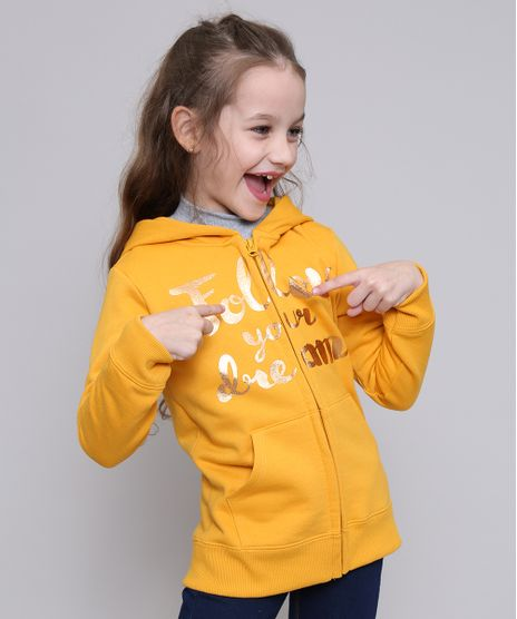 Blusao-Infantil--Follow-Your-Dreams--em-Moletom-com-Capuz-Mostarda-9565190-Mostarda_1