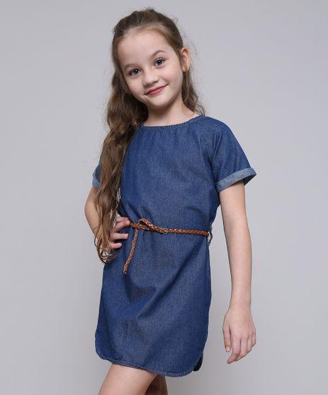 Vestido-Jeans-Infantil-com-Cinto-Manga-Curta-Azul-Medio-9554916-Azul_Medio_1