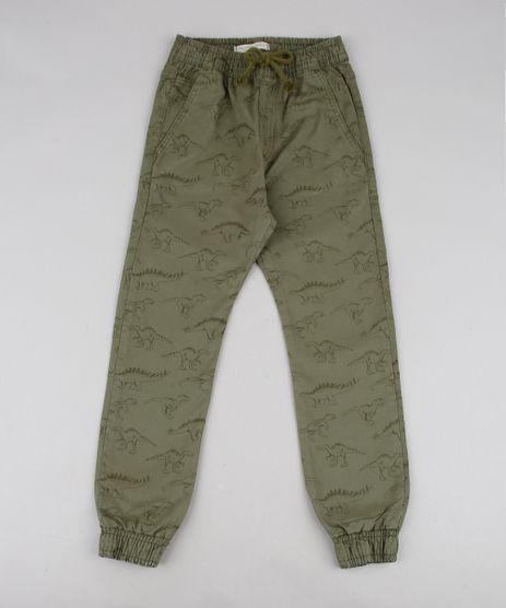 Calca-Infantil-Jogger-Estampada-de-Dinossauros-Verde-Militar-9604836-Verde_Militar_1