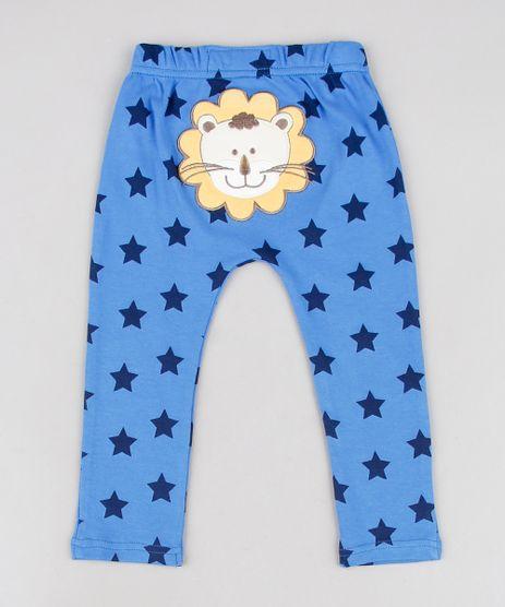Calca-Infantil-Leao-Estampada-de-Estrelas-Azul-9584548-Azul_1