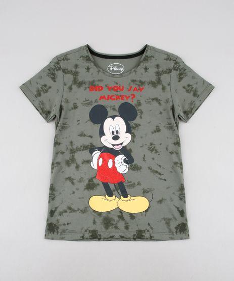 Blusa-Infantil-Mickey-Estampada-com-Glitter-Manga-Curta--Verde-Militar-9590058-Verde_Militar_1