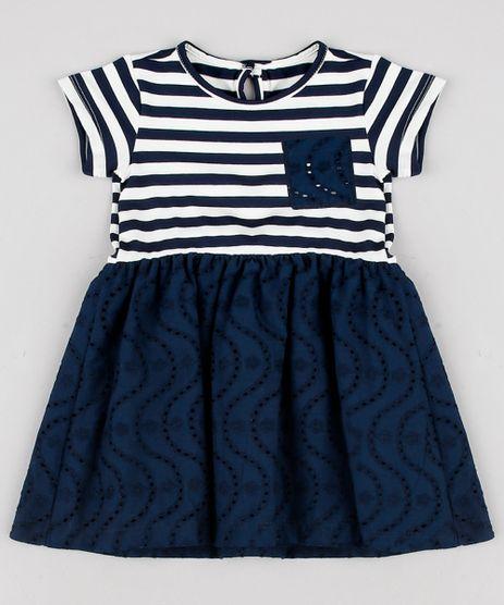 Vestido-Infantil-Listrado-com-Laco-Manga-Curta-Azul-Marinho-9623067-Azul_Marinho_1