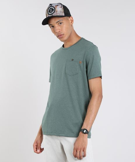 Camiseta-Masculina-com-Bolso-Manga-Curta-Gola-Careca-Verde-Militar-9605242-Verde_Militar_1