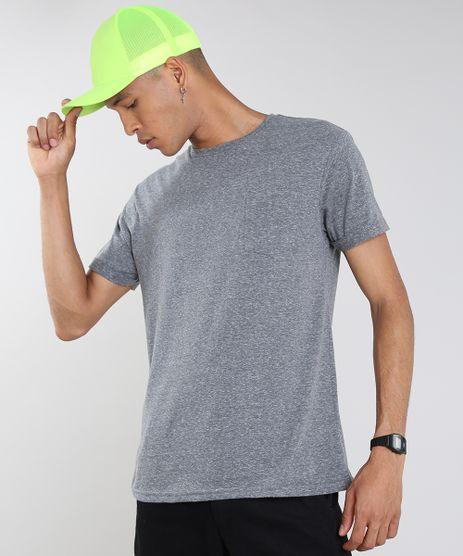 Camiseta-Masculina-com-Bolso-Manga-Curta-Gola-Careca-Cinza-Mescla-9540852-Cinza_Mescla_1