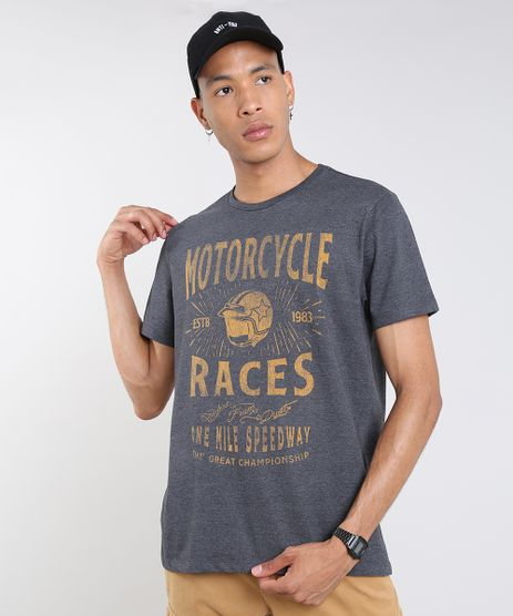 Camiseta-Masculina--Motorcycle-Races--Manga-Curta-Gola-Careca-Cinza-Mescla-Escuro-9609298-Cinza_Mescla_Escuro_1