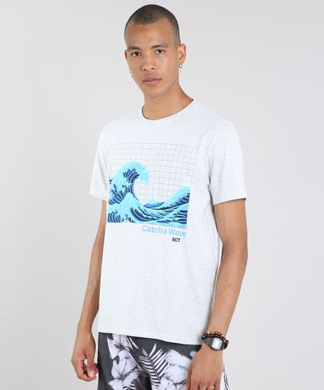 Camiseta-Masculina--Catch-a-Wave--Manga-Curta-Gola-Careca-Cinza-Mescla-9605353-Cinza_Mescla_1