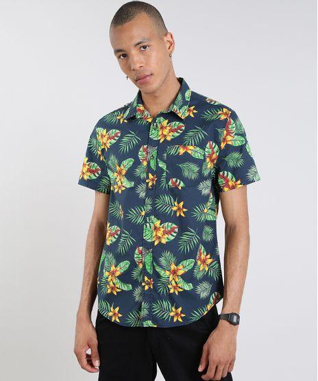 Camisa-Masculina-Estampada-Tropical-Manga-Curta-Azul-Marinho-9514516-Azul_Marinho_1