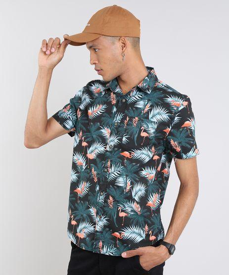 Camisa-Masculina-Estampada-de-Flamingos-Tropical-Manga-Curta-Preta-9514518-Preto_1