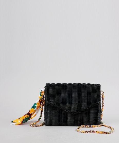 Bolsa-Feminina-Transversal-em-Palha-de-Ratan-com-Lenco-Estampado-Floral-Preta-9255542-Preto_1