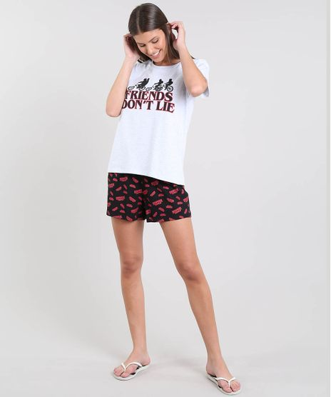 Pijama-Feminino-Stranger-Things-Manga-Curta-Cinza-9638678-Cinza_1
