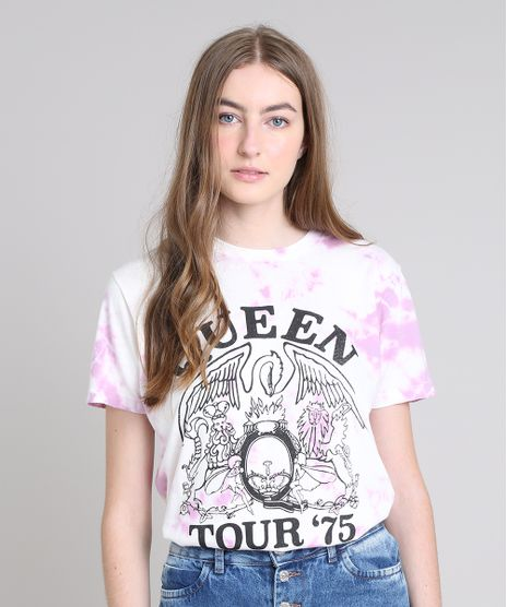 T-Shirt-Feminina-de-Banda-Mindset-Queen-Tie-Dye-Manga-Curta-Decote-Redondo-Off-White-9638052-Off_White_1
