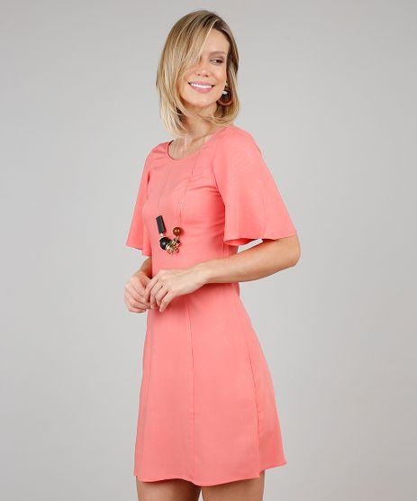 Vestido-Feminino-Curto-com-Tiras-Manga-Curta-Coral-9540266-Coral_1