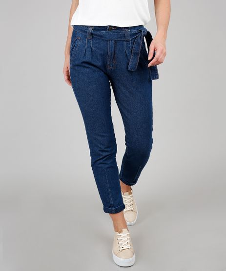 Calca-Jeans-Feminina-Mom-com-Faixa-para-Amarrar-Azul-Medio-9594600-Azul_Medio_1