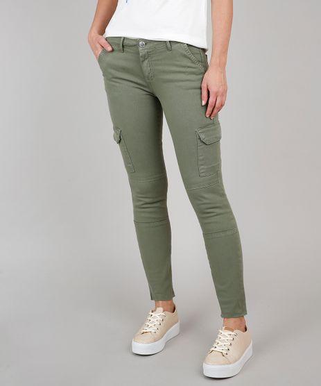 Calca-de-Sarja-Feminina-Skinny-Cargo-Verde-Militar-9628060-Verde_Militar_1