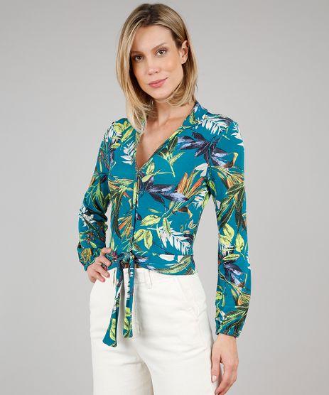 Camisa-Feminina-Estampada-de-Folhagem-com-No-Manga-Longa-Verde-9644703-Verde_1