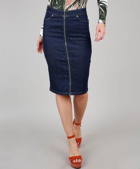 Saia-Jeans-Lapis-Feminina-com-Ziper-de-Argola-e-Fenda-Azul-Escuro-9594617-Azul_Escuro_1