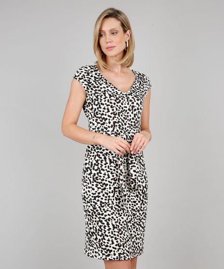 Vestido-Feminino-Curto-Estampado-Animal-Print-com-Faixa-para-Amarrar-Sem-Manga-Bege-Claro-9633489-Bege_Claro_1