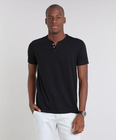 Camiseta-Masculina-Basica-com-Botoes-Manga-Curta-Gola-Careca-Preta-8170415-Preto_1