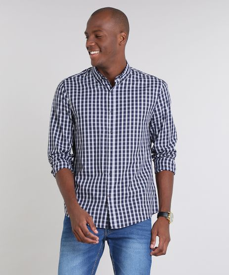 Camisa-Masculina-Comfort-Estampada-Xadrez-Manga-Longa-Azul-Marinho-9530841-Azul_Marinho_1