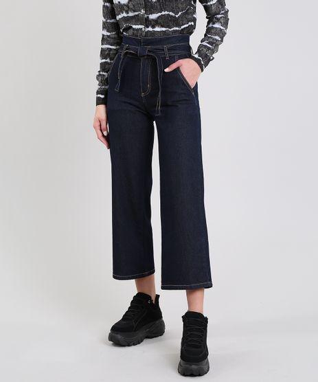 Calca-Jeans-Feminina-Sawary-Pantacourt-com-Faixa-para-Amarrar-Azul-Escuro-9619273-Azul_Escuro_1