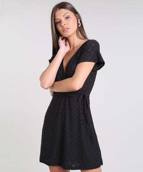 Vestido-Feminino-Curto-Transpassado-em-Laise-Manga-Curta-Preto-9608857-Preto_1