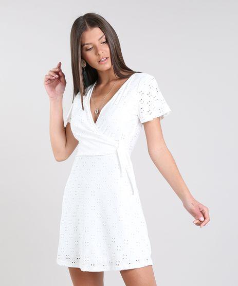 Vestido-Feminino-Curto-Transpassado-em-Laise-Manga-Curta-Off-White-9608857-Off_White_1