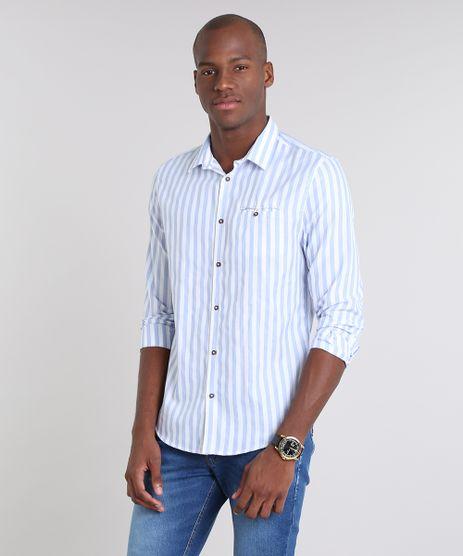 Camisa-Masculina-Slim-Listrada-com-Bolso-Manga-Longa-Azul-Claro-9523405-Azul_Claro_1