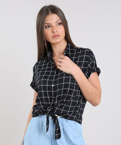 Camisa-Feminina-Cropped-Estampada-Xadrez-com-No-Manga-Curta-Preta-9521092-Preto_1