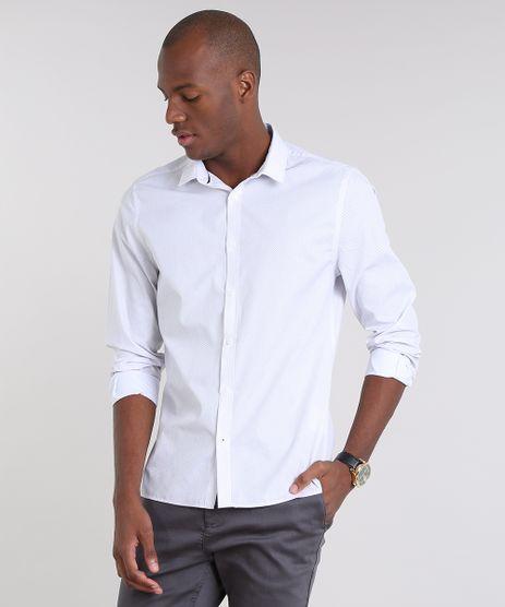 Camisa-Masculina-Slim-Estampada-Mini-Print-de-Poa-Manga-Longa-Branca-9516952-Branco_1