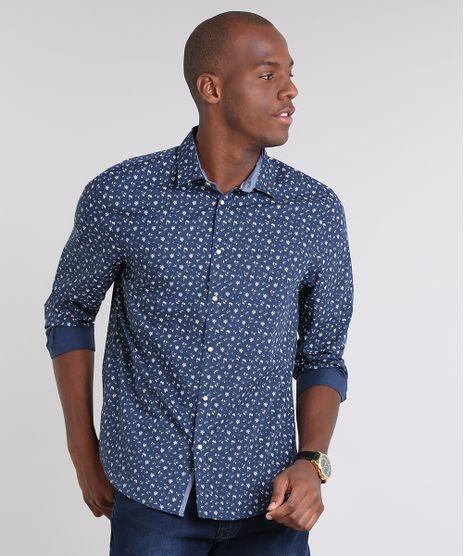 Camisa-Masculina-Comfort-Estampada-Floral-Manga-Longa--Azul-Marinho-9509115-Azul_Marinho_1