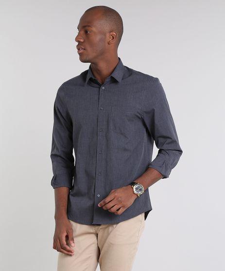 Camisa-Masculina-Comfort-com-Bolso-Manga-Longa--Chumbo-8826559-Chumbo_1