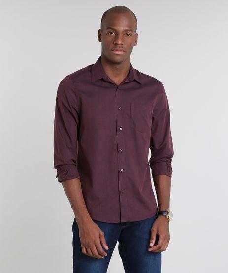 Camisa-Masculina-Comfort-com-Bolso-Manga-Longa--Vinho-8826559-Vinho_1