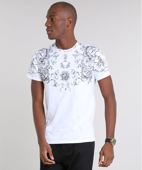 Camiseta-Masculina-Slim-Fit-com-Estampa-de-Arabesco-Manga-Curta-Gola-Careca-Branca-9603247-Branco_1